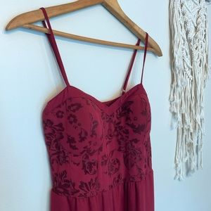 Xhilaration Other - Xhilaration Wine Red Damask Floral Romper Jumpsuit